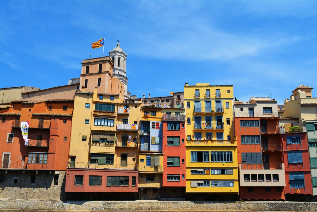 Colourful houses on the banks of the Onyar river, Girona