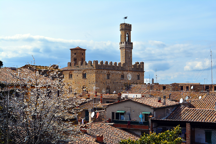 A beautiful view from the Archeological park over the centre of the city of Volterra, Tuscany, Italy.