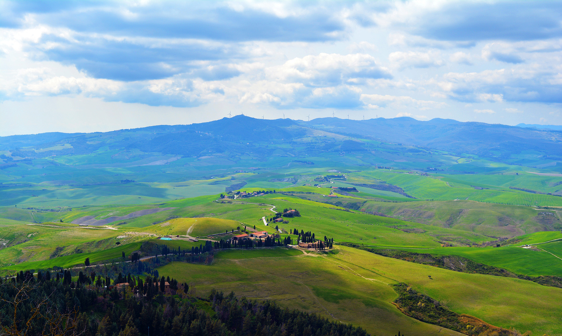 View to the valley from Volterra, Tuscany, Italy.