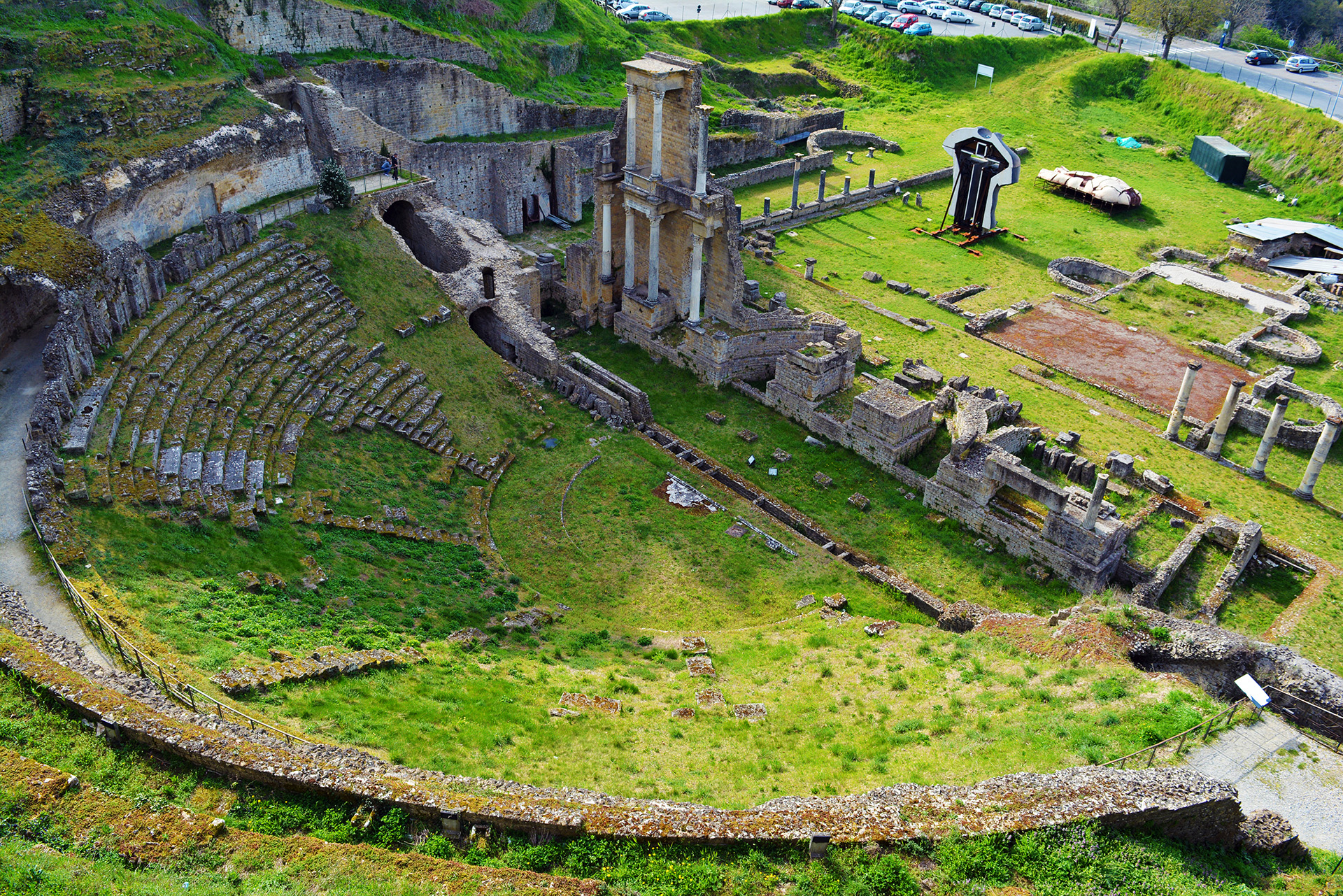 Teatro di Vallebona, remains of a Roman amphitheatre built in the 1st century BC in Volterra, Tuscany, Italy.