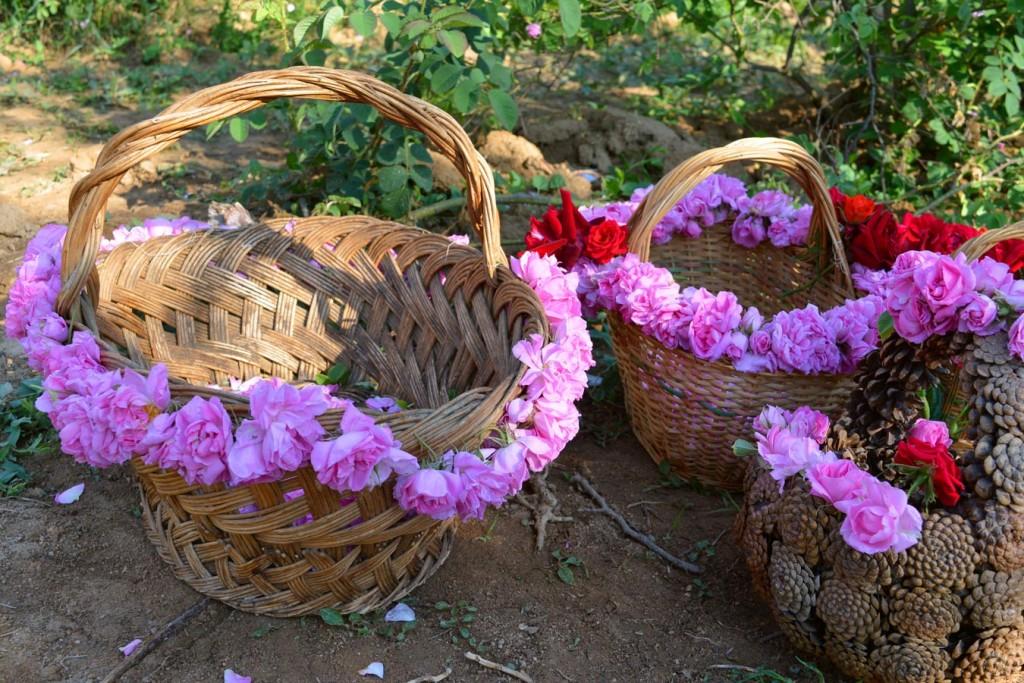 Плетени кошници, украсени с маслодайни рози