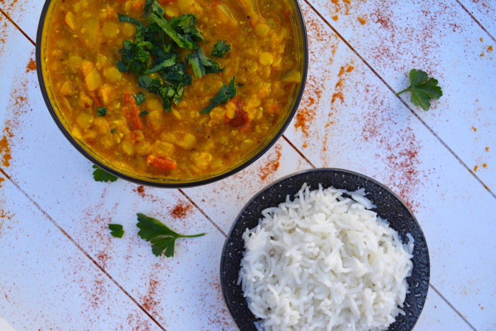 Indian lentil dal with basmati rice