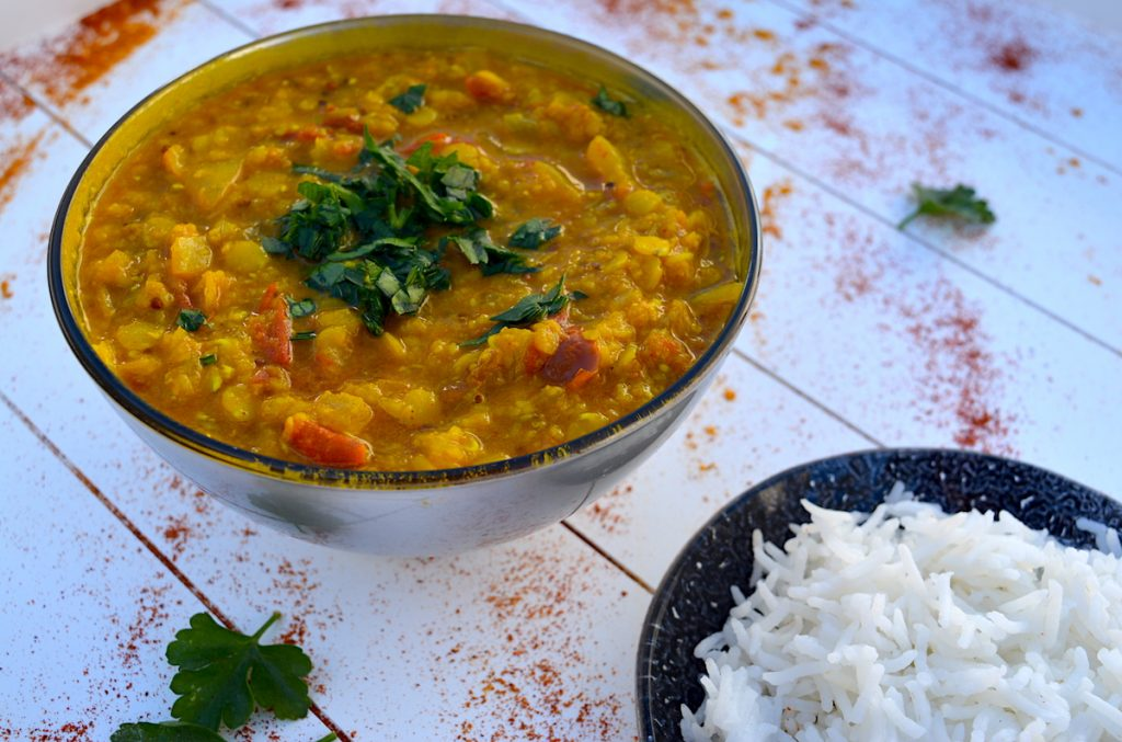 Indian lentil dal with basmati rice
